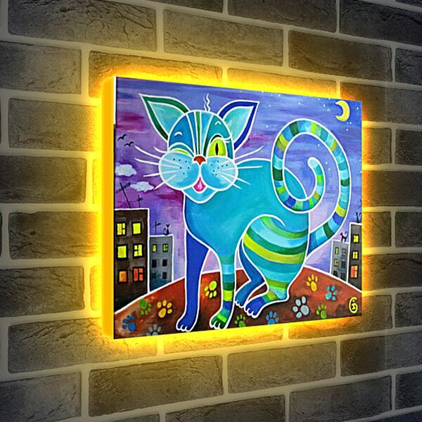 Лайтбокс световая панель - Кот который живет на крыше