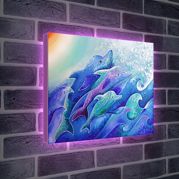Лайтбокс световая панель - Поющие дельфины