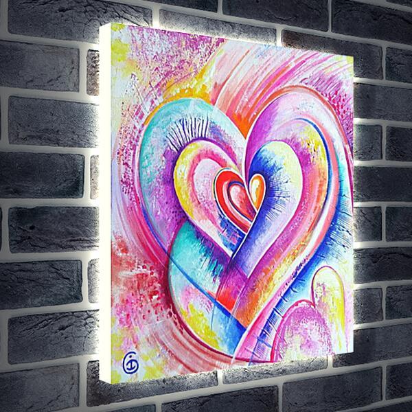 Лайтбокс световая панель - Сердца