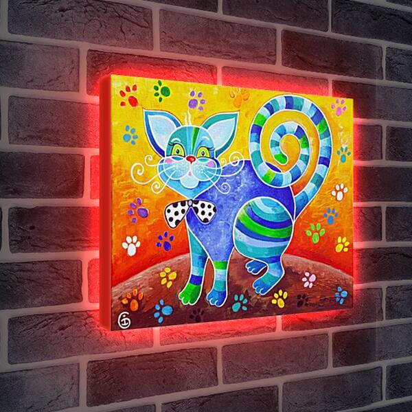 Лайтбокс световая панель - Счастливый кот