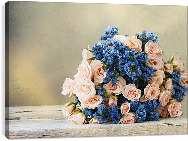 Постер на подрамнике - Розы и незабудки