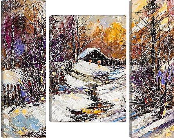 Модульная картина - Зимняя тропинка к дому
