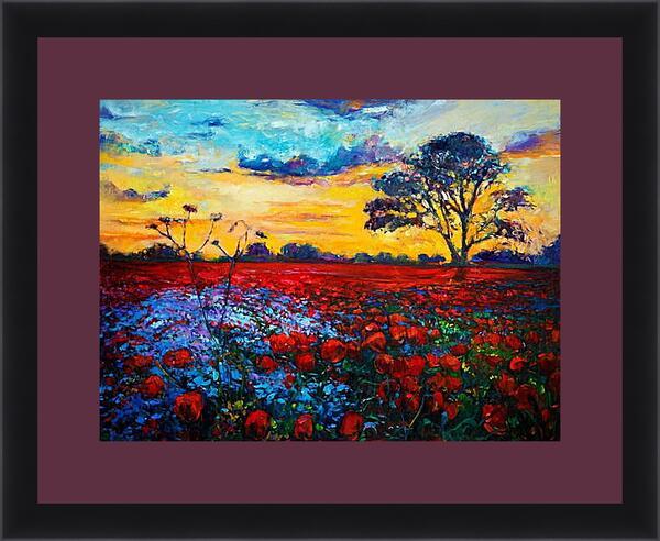 Картина в раме - Поле красных цветов