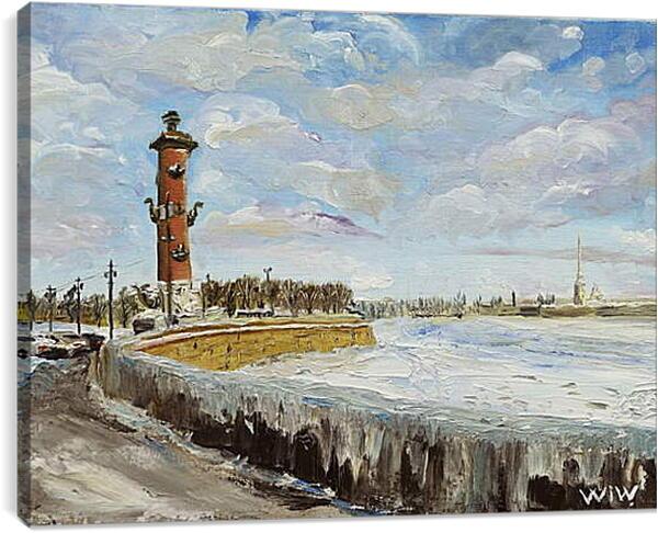 Постер на подрамнике - Берег Невы. Санкт Петербург