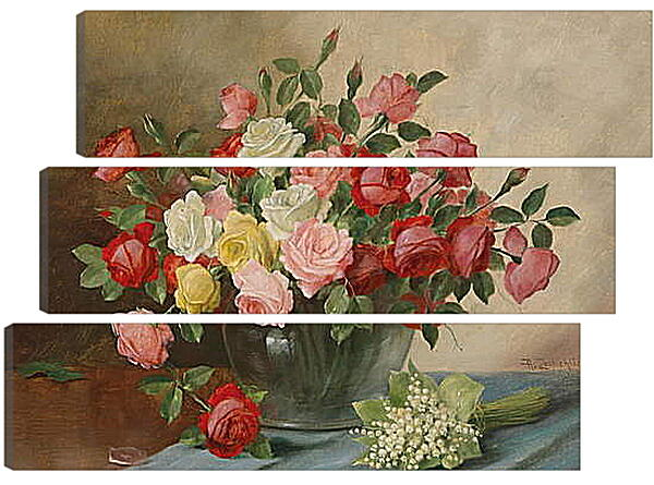 Модульная картина - Цветы в вазе на столе
