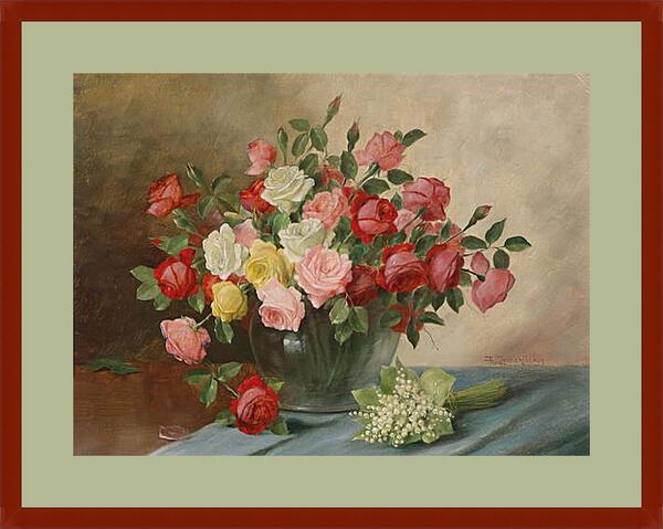 Картина в раме - Цветы в вазе на столе