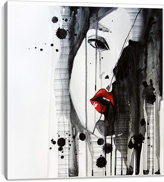 Постер на подрамнике - Абстракция, лицо девушки