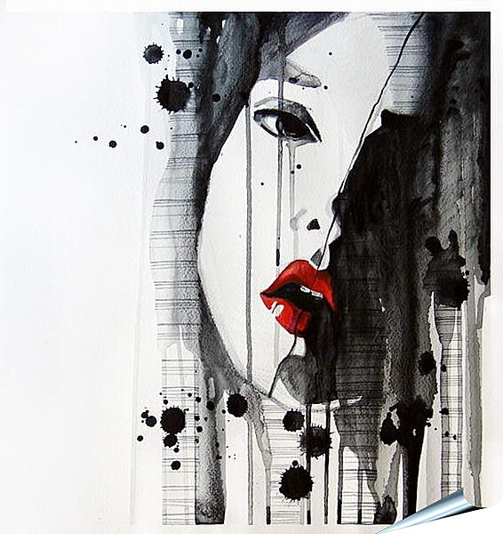 Плакат на стену - Абстракция, лицо девушки