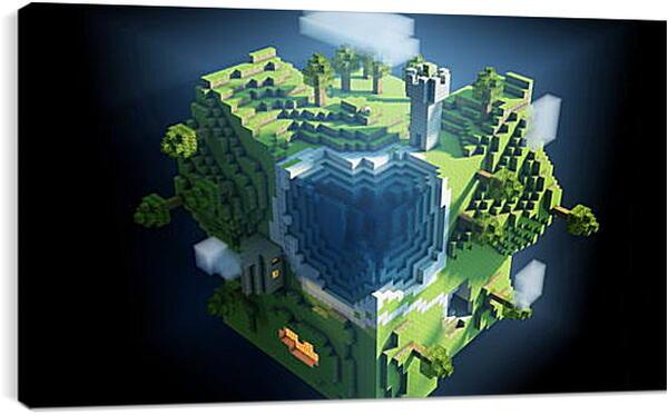 Постер на подрамнике - minecraft, planet, cube