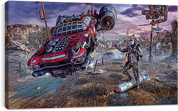 Постер на подрамнике - fallout, wasteland, cars