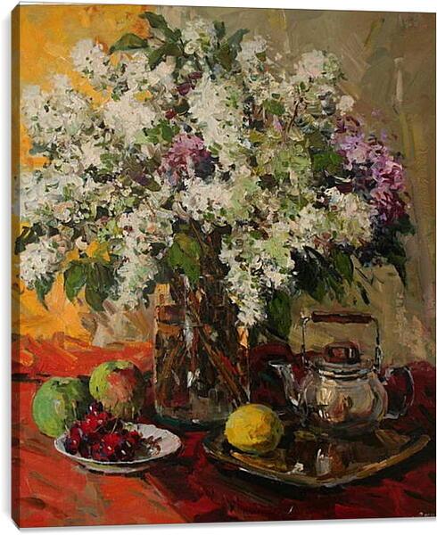 Постер на подрамнике - Цветы на столе