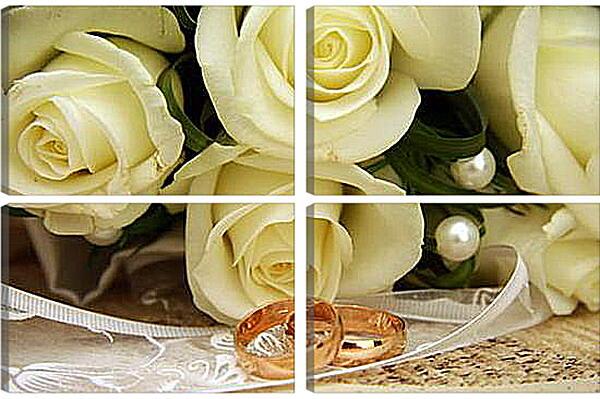 Модульная картина - Свадебный букет (Розы)