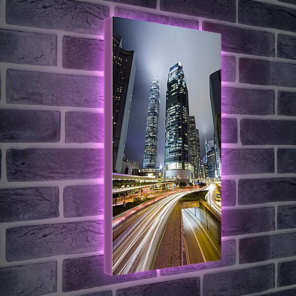 Лайтбокс световая панель - Дороги ночного города