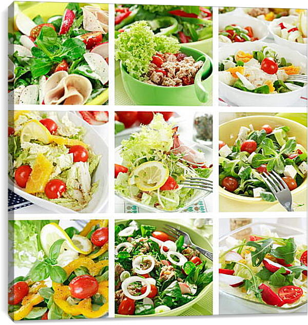 Постер на подрамнике - Коллаж с салатами