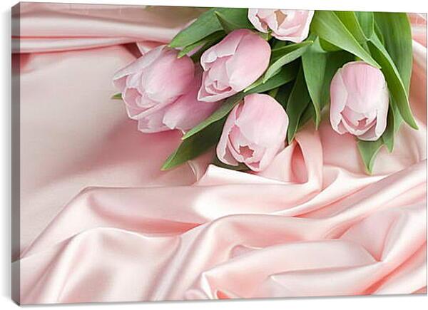 Постер на подрамнике - Нежные тюльпаны на розовом шелке