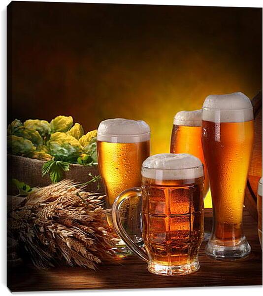 Постер на подрамнике - кружки пива
