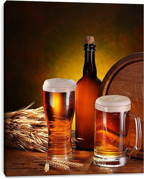 Постер на подрамнике - две кружки пива