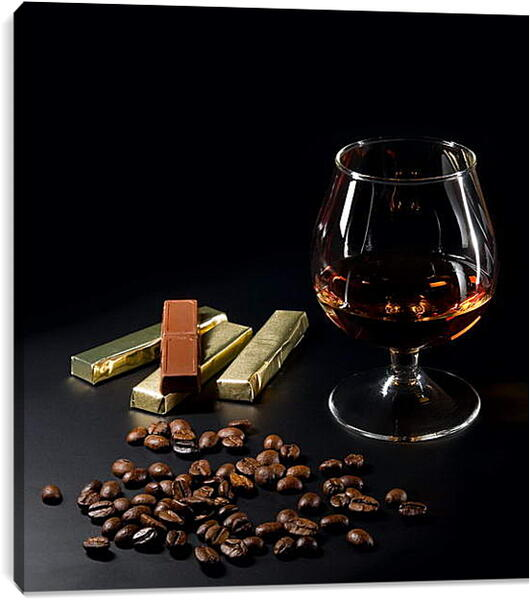 Постер на подрамнике - Коньяк с шоколадом
