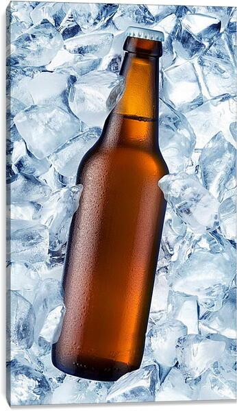 Постер на подрамнике - Бутылка и лед
