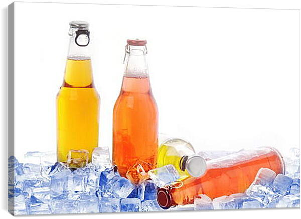 Постер на подрамнике - Бутылки лимонада со льдом