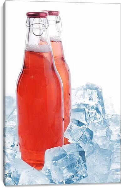 Постер на подрамнике - Две бутылки и лед