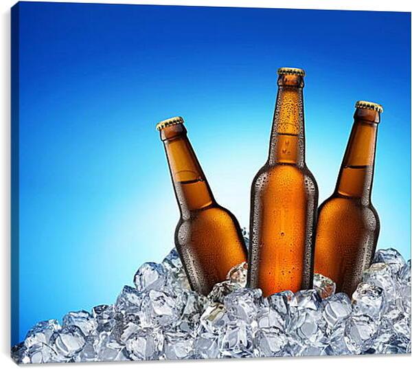 Постер на подрамнике - Бутылки и лед