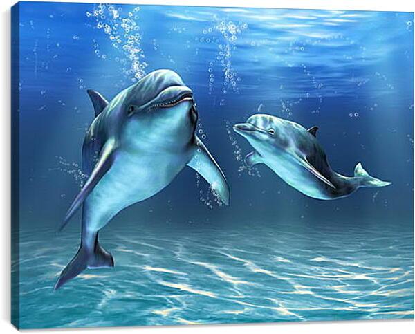 Постер на подрамнике - Иллюстрация дельфины