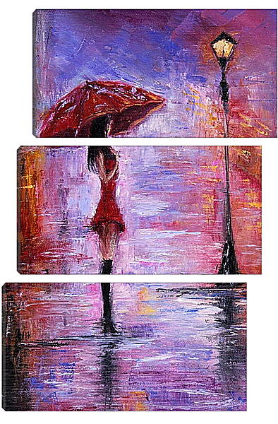 Модульная картина - Одна под дождем