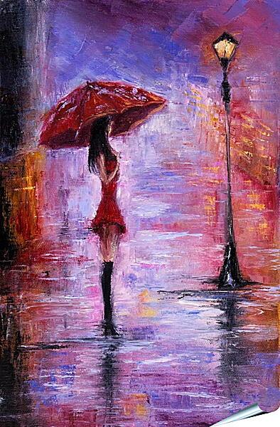 Плакат на стену - Одна под дождем
