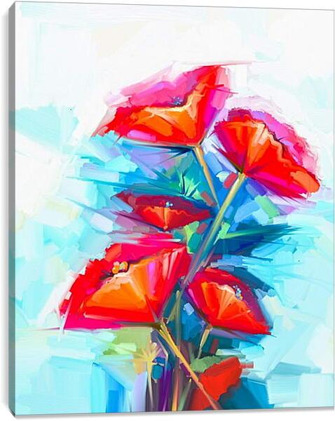 Постер на подрамнике - Абстракция. Цветы