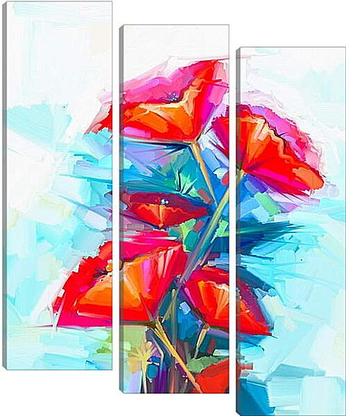 Модульная картина - Абстракция. Цветы