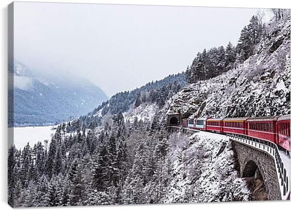 Постер на подрамнике - Поезд зимой