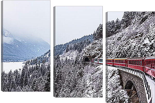 Модульная картина - Поезд зимой