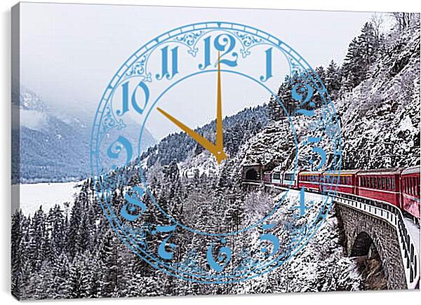 Часы картина - Поезд зимой