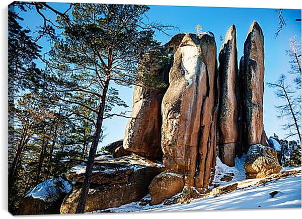 Постер на подрамнике - Зимние скалы