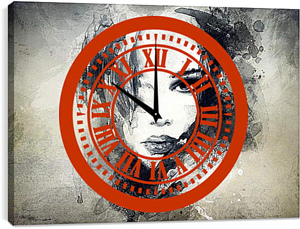 Часы картина - Силуэт девушки