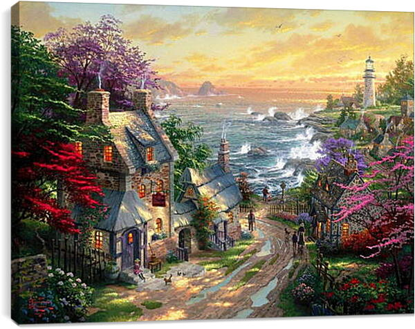 Постер на подрамнике - Деревушка на берегу моря
