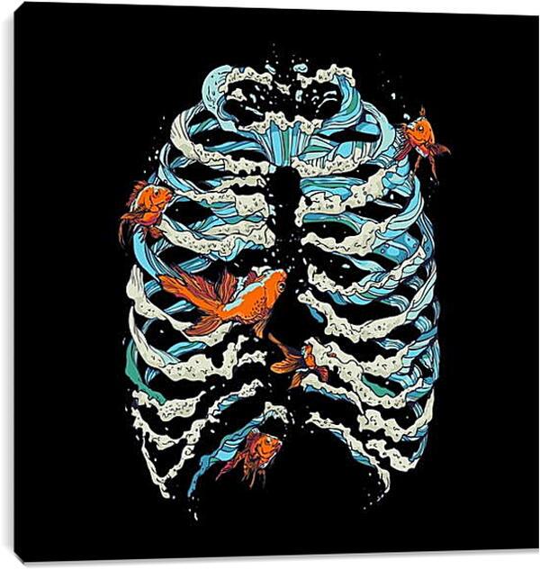Постер на подрамнике - Рыбки в ребрах
