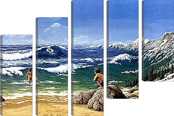 Модульная картина - Иллюзия. Горы из моря