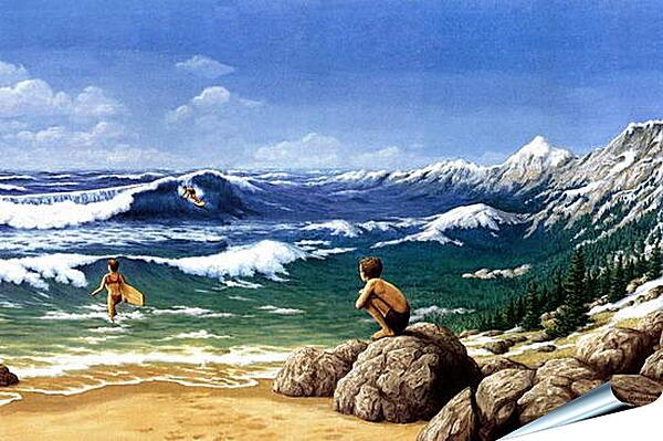 Плакат на стену - Иллюзия. Горы из моря