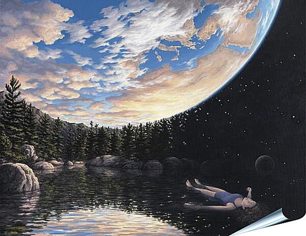 Плакат на стену - Иллюзия. Небо - Земля