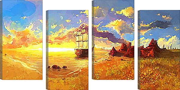 Модульная картина - Корабль уплывает в закат