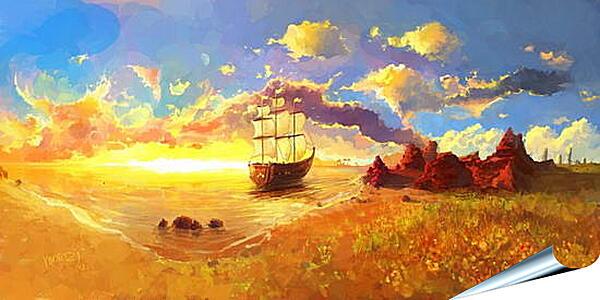 Плакат на стену - Корабль уплывает в закат