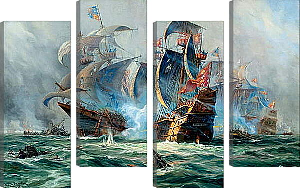 Модульная картина - Битва на море