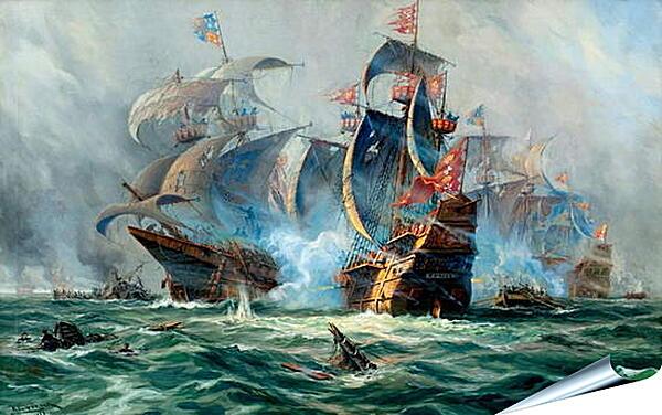 Плакат на стену - Битва на море
