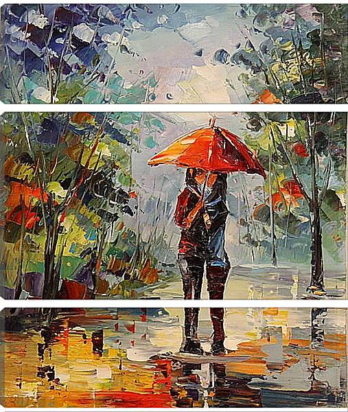 Модульная картина - Двое под зонтом