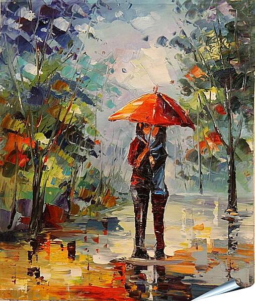 Плакат на стену - Двое под зонтом