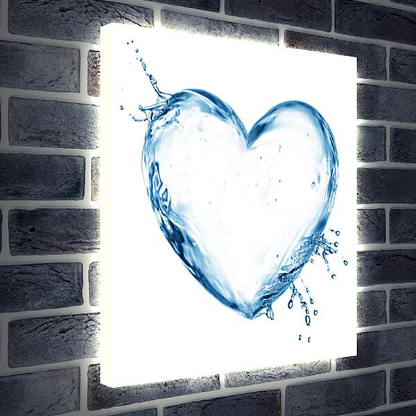 Лайтбокс световая панель - Водяное сердце