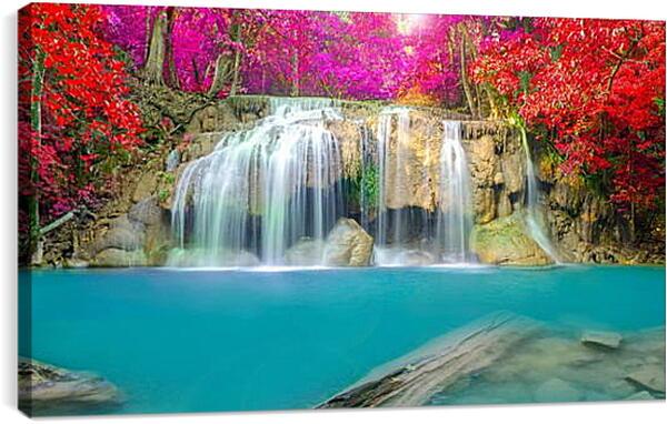 Постер на подрамнике - Водопад в ярких красках леса