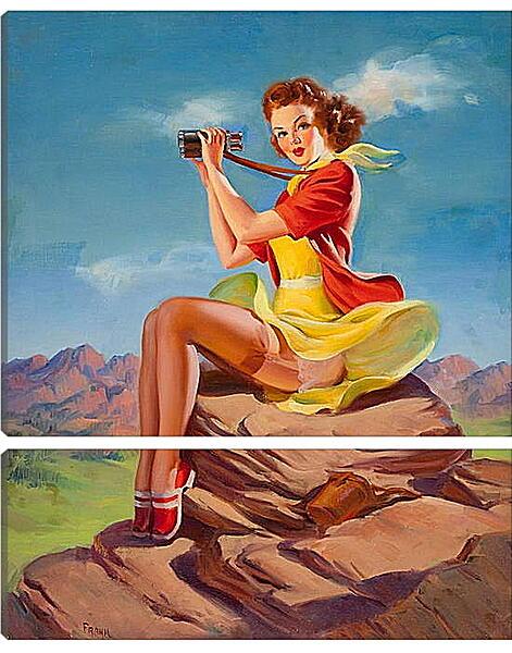 Модульная картина - Девушка с биноклем. Пин-ап
